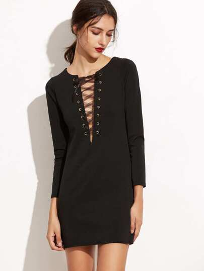 Black Eyelet Lace Up Sheath Dress