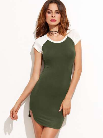 Color Block Slit Side Tee Dress