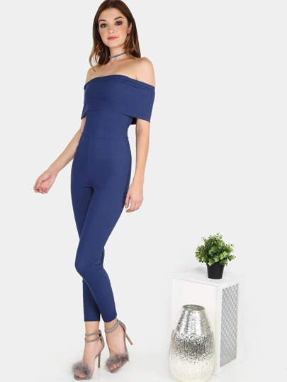 Off the Shoulder Crepe Bardot Jumpsuit DENIM