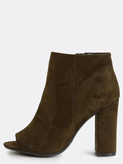 Peep Toe Chunky Heel Boots OLIVE