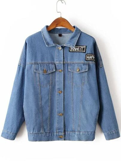 Blue Letter Embroidery Denim Jacket