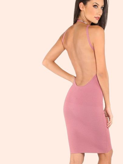 Scoop Back Halter Strap Bandage Ribbed Dress MAUVE