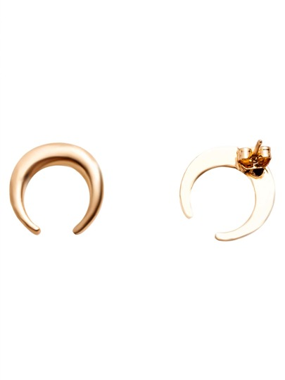 Gold Plated Moon Simple Stud Earrings