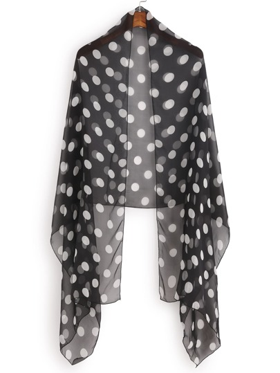 Black And White Polka Dot Sheer Scarf