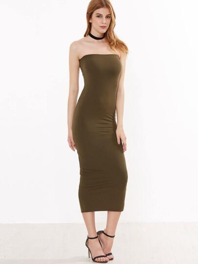 Army Green Sheath Tube Dress