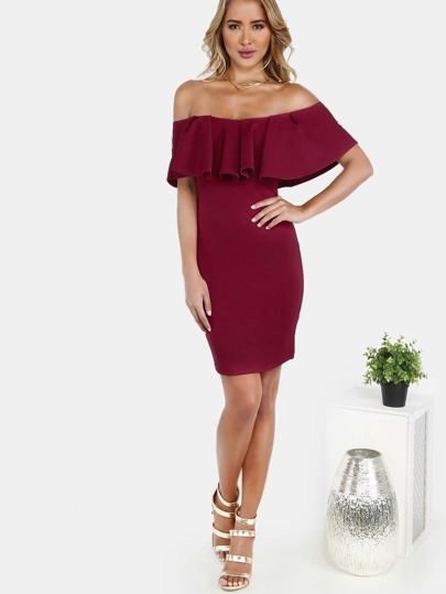 Ruffle Off the Shoulder Dress BURGUNDY