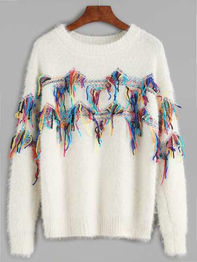 White Fringe Trim Fuzzy Sweater