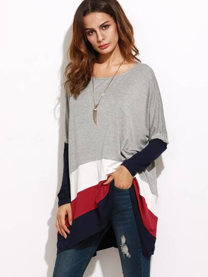 T-shirt grande taille color-block