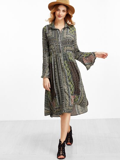 Vintage Print Bell Sleeve Shirt Dress