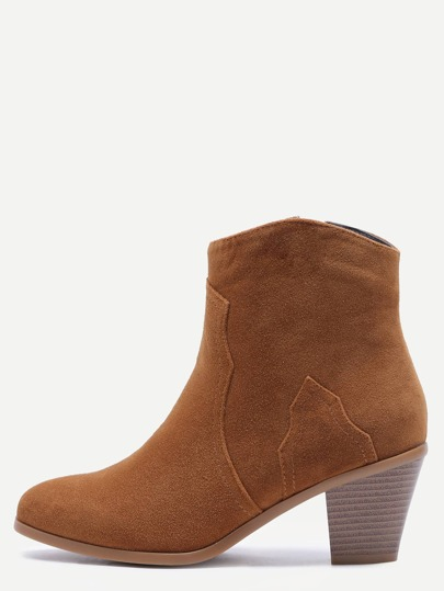 Camel Nubuck Leather Almond Toe Chunky Heel Booties