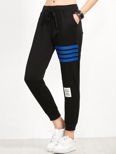 Black Striped Trim Beam Port Pants