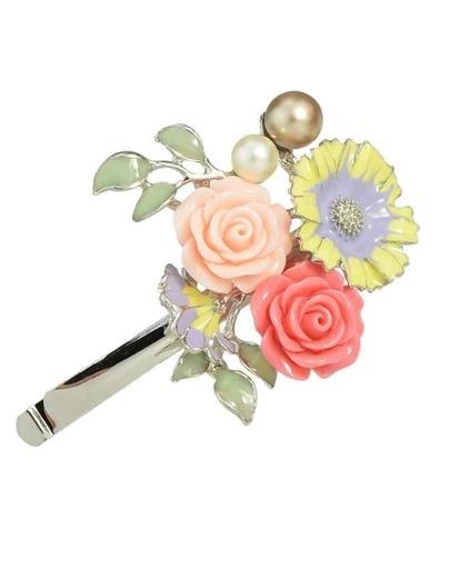 Silver Enamel Flower Hair Clip