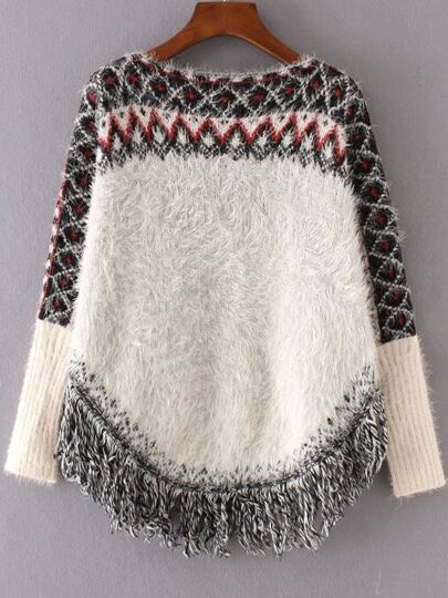 White Geometric Pattern Fringe Hem Mohair Cape Sweater