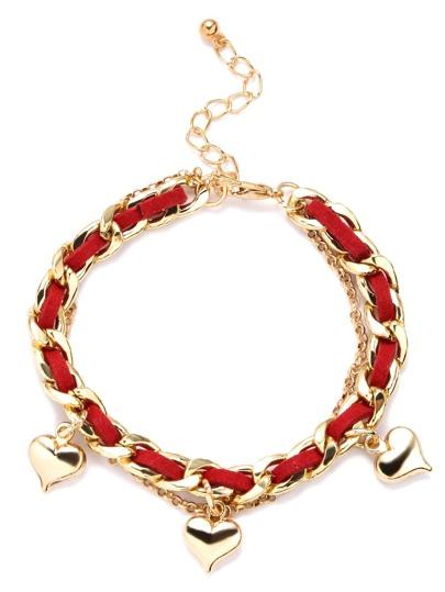 Red Braided Metal Heart Pendant Charm Bracelet