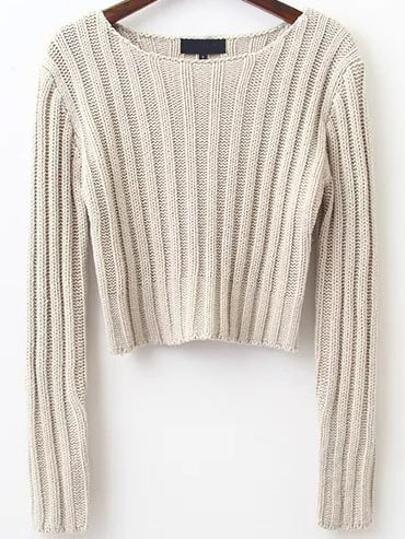 Pull tricoté à nervures col rond - abricot