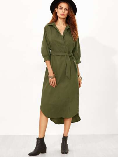 Army Green Dip Hem Belt Shirt Dress