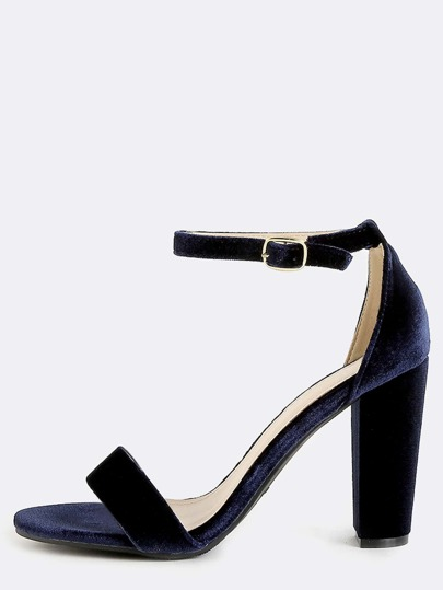 Velvet Single Strap Block Heels NAVY