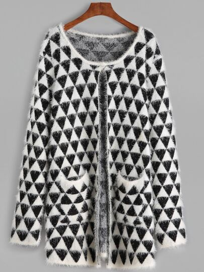 Black And White Geo Pattern Fluffy Sweater Coat