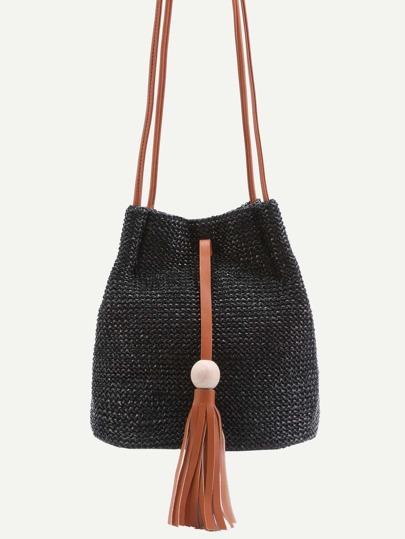 Black Woven Button Closure Tassel Trim Crossbody Bag