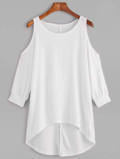 White Open Shoulder Dip Hem T-shirt