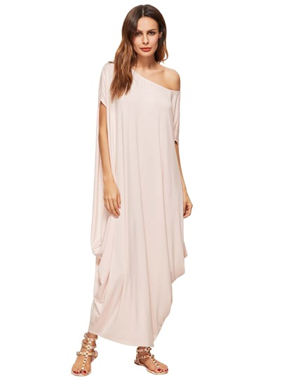 Apricot One Shoulder Dolman Sleeve Maxi Dress