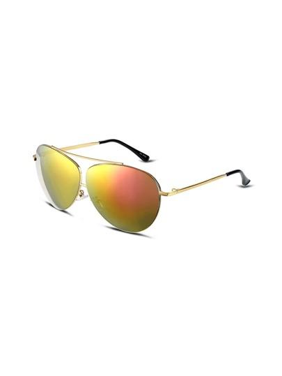 Gold Frame Double Bridge Mirrored Aviator Sunglasses