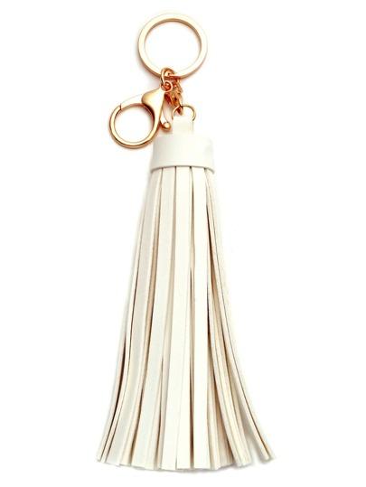 White Faux Leather Tassel Keychain