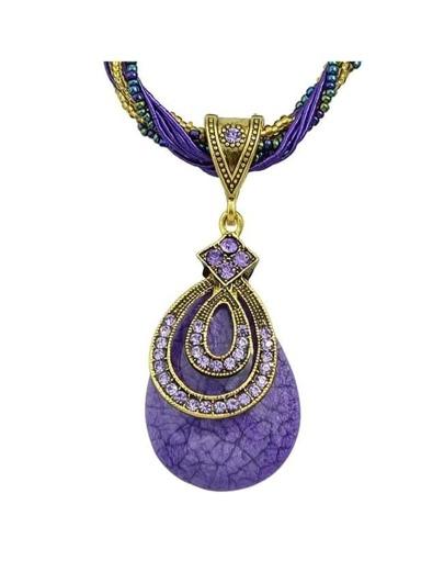 Purple Beads Chain Pendant Necklace