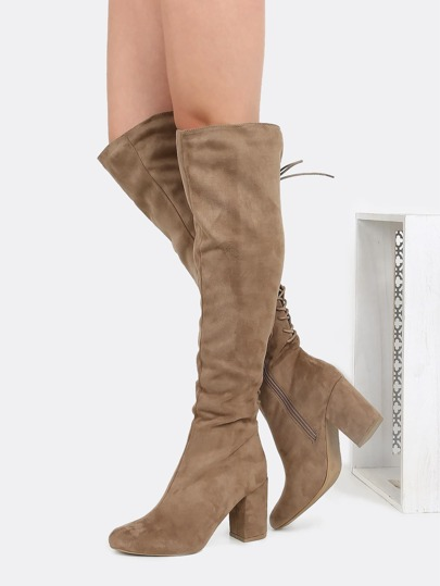 Over the Knee Lace Back Chunky Boots TAN