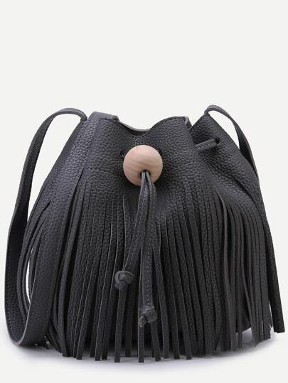 Black Pebbled PU Tassel Fringe Drawstring Bucket Bag