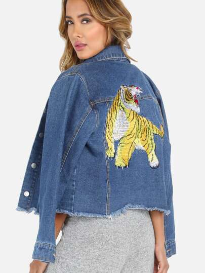Embroidered Tiger Cropped Denim Jacket DENIM