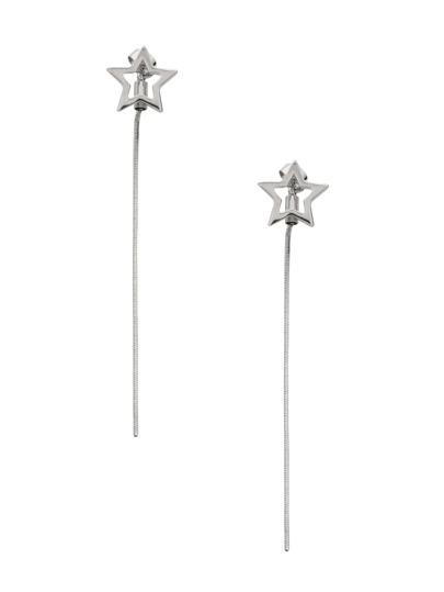 Silver Hollow Star Long Chain Stud Earrings