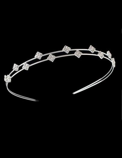 Silver Plated Rhinestone Headband
