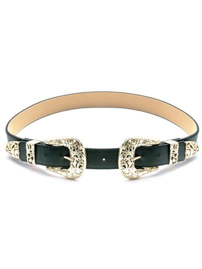 Green Double Buckle Faux Leather Belt