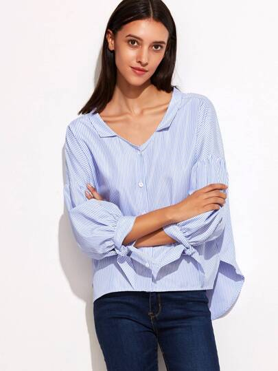 Blue Vertical Striped Lantern Sleeve Blouse With Bow Detail