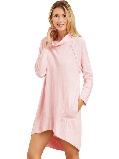 Pink Cowl Neck Long Sleeve High Low Dress