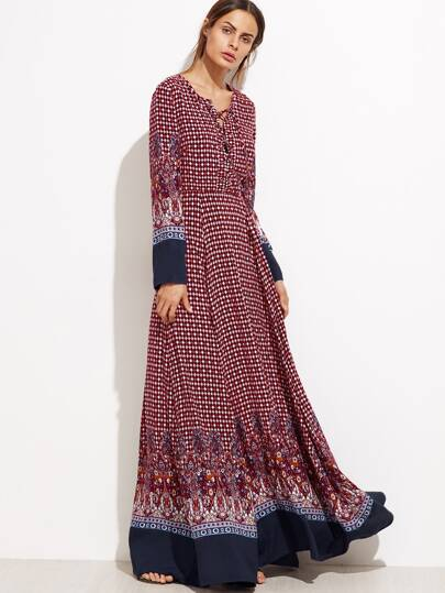 Burgundy Ornate Print Lace Front Contrast Trim Maxi Dress