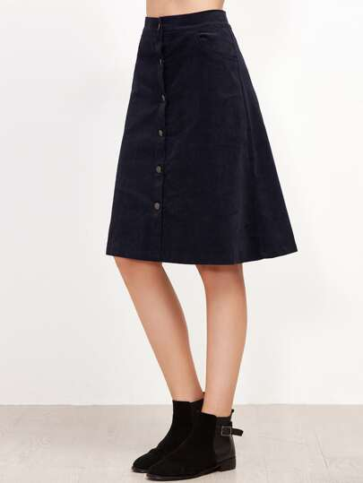 Navy Single Breasted A-Line Skirt