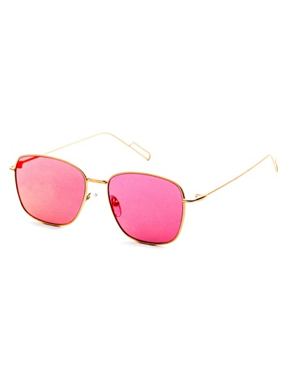 Gold Delicate Frame Pink Lens Sunglasses