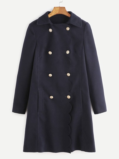 Navy Scallop Trim Double Breasted Coat