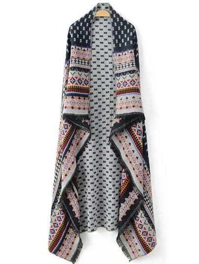 Multicolor Tribal Pattern Frayed Scarf