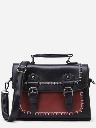 Black Faux Leather Satchel Bag