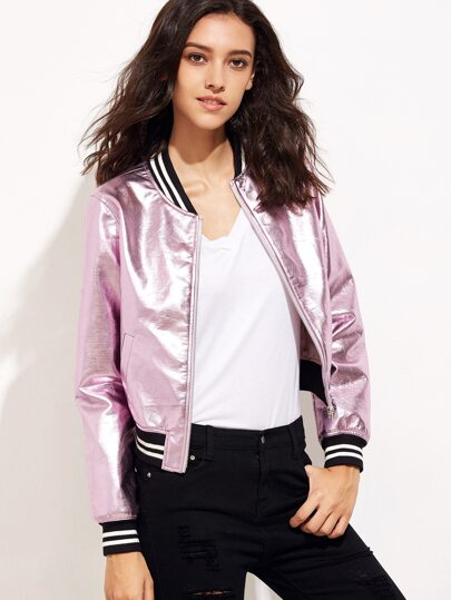 Metallic Pink Faux Leather Bomber Jacket