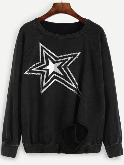 Black Star Print Raglan Sleeve Ripped Sweatshirt