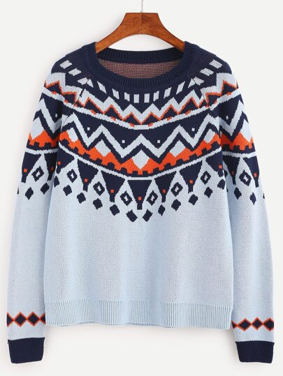 Blue Geo Pattern Raglan Sleeve Sweater