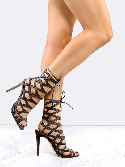 Caged Lace Up Back Heels GREY