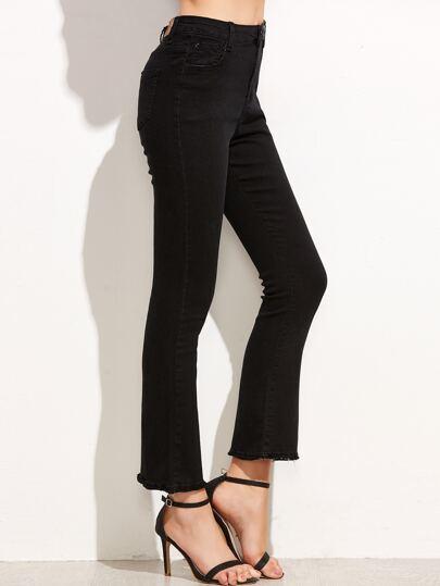 Black Raw Hem Flare Jeans