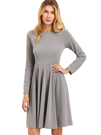 Dark Grey Pleated Long Sleeve A-Line Dress