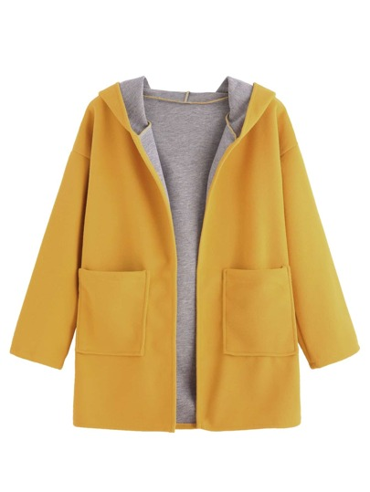 Drop Shoulder Pocket Hooded Coat