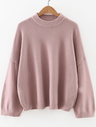 Pink Crew Neck Drop Shoulder Sweater